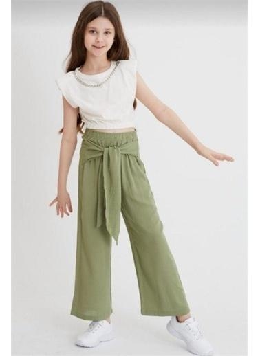 Riccotarz Kız Çocuk Vatkalı Zincirli Pantolonlu Yeşil Alt Üst Takım Yeşil